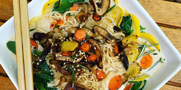 Oyster mushrooms with vegetables
